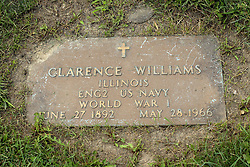 31 August 2017:   Veterans graves in Park Hill Cemetery in eastern McLean County.<br /> <br /> Clarence Williams  Illinois  ENG2 US Navy  World War I  June 27 1892  May 28 1966