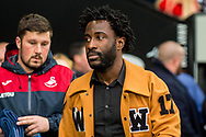 Wilfried Bony of Swansea city, not playing today, looks on ahead of the game. Premier league match, Swansea city v Leicester city at the Liberty Stadium in Swansea, South Wales on Saturday 21st October 2017.<br /> pic by Aled Llywelyn, Andrew Orchard sports photography.