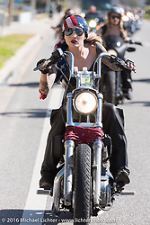 Kissa Von Addams and the Iron Lillies riding north on A1A  for the Hot Leathers ride during the Daytona Bike Week 75th Anniversary event. FL, USA. Tuesday March 8, 2016.  Photography ©2016 Michael Lichter.
