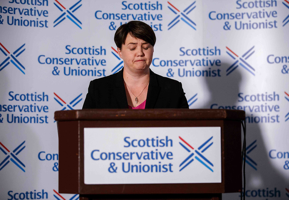 EDINBURGH, SCOTLAND - AUGUST 29: Ruth Davidson addresses the media during her resignation speech at The Macdonald Hotel, Edinburgh on August 29, 2019 in Edinburgh, Scotland. (Photo by Robert Perry/Getty Images)