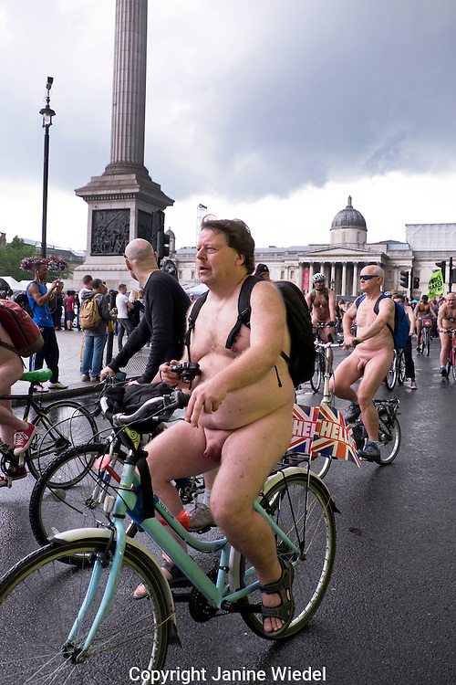 World naked bike ride through central London protesting oil dependency