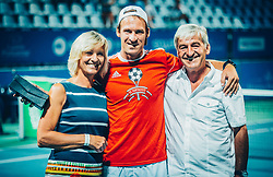 Parents of Grega Zemlja during his official retirement at Tennis tournament  ATP Challenger Zavarovalnica Sava Slovenia Open 2017, on August 11, 2017 in Sports centre, Portoroz/Portorose, Slovenia. Photo by Vid Ponikvar / Sportida