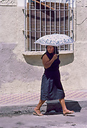 Umbrella Lady, Mazatlan, Mexico, March 1988