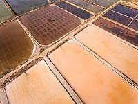 Aerial view of salt marsh in Algarve in Portugal.