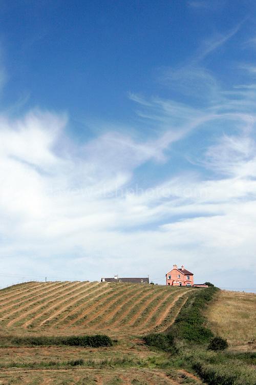 house, hill, harvest, hay, field, sky, co., clare, ireland, west, coast, summer, irish, farming, farm, lonely, landscape, print