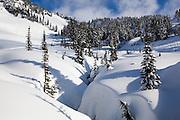 A creek cuts a deep canyon in the fresh snow at Paradise, Mount Rainier National Park, Washington.