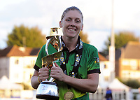 Cricket - 2019 Women's Cricket Kia Super League - Final: Western Storm vs. Southern Vipers<br /> <br /> Captain, Heather Knight of, Western Storm celebrates with the trophy at County Cricket Ground, Hove.<br /> <br /> COLORSPORT/ANDREW COWIE
