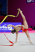 Alexandra Agiurgiuculese during the qualifications at the World Cup in Pesaro a in Vitrifrigo Arena on May 28/29, 2021. Alex is an Italian rhythmic gymnastics of bulgarian origin born in Iasi, gennuary 15  2001.