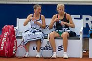 Karen Barritza (Denmark, left) and Ellen Allgurin (Sweden) at the 2017 WTA Ericsson Open in Båstad, Sweden, July 27, 2017. Photo Credit: Katja Boll/EVENTMEDIA.
