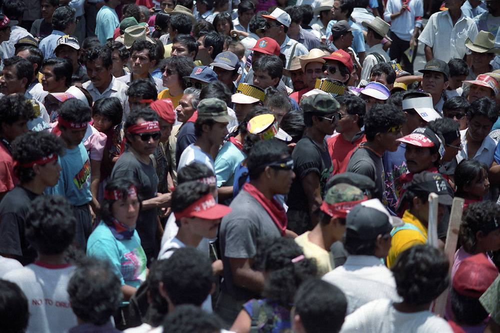 Supporters of the FMLN celebrate the signing of the peace agreement in San Salvador, January 1992. Guerrilla soldiers take part in the celebrations.