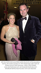 MR WILLIAM CASH and MISS ILARIA BULGARI of the jewellery family, at a ball in Sussex on 15th September 2001.OSH 20