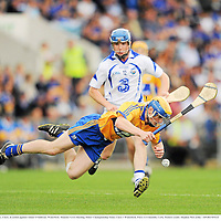 10 July 2011; Seadna Morey, Clare, in action against Adam O'Sullivan, Waterford. Munster GAA Hurling Minor Championship Final, Clare v Waterford, Pairc Ui Chaoimh, Cork. Picture credit: Stephen McCarthy / SPORTSFILE