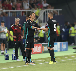 August 8, 2017 - Skopje, Macedonia - Cristiano Ronaldo of Real Madrid comes on for Karim Benzema of Real Madrid during the UEFA Super Cup final between Real Madrid and Manchester United at the Philip II Arena on August 8, 2017 in Skopje, Macedonia. (Credit Image: © Raddad Jebarah/NurPhoto via ZUMA Press)