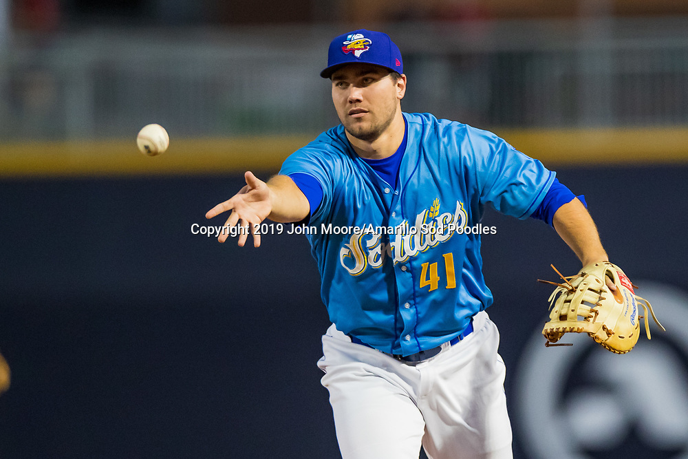 Amarillo Sod Poodles infielder Brad Zunica (41) flips the ball against the Tulsa Drillers on Saturday, June 15, 2019, at HODGETOWN in Amarillo, Texas. [Photo by John Moore/Amarillo Sod Poodles]