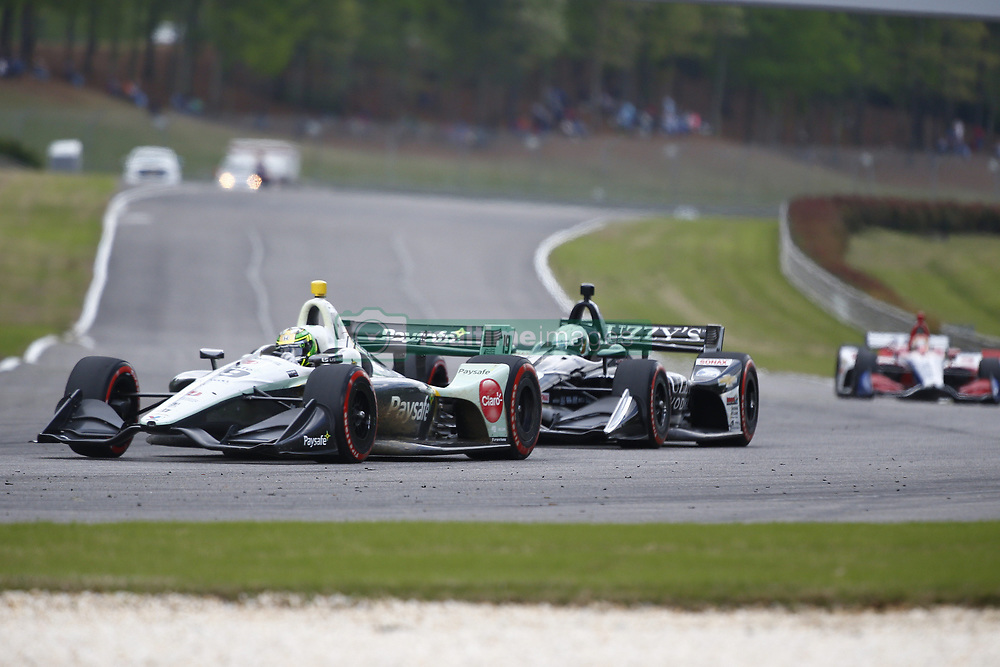 April 23, 2018 - Birmingham, Alabama, United States of America - ZACHARY CLAMAN DE MELO (19) of Canada battles for position through the turns during the Honda Grand Prix of Alabama at Barber Motorsports Park in Birmingham, Alabama. (Credit Image: © Justin R. Noe Asp Inc/ASP via ZUMA Wire)