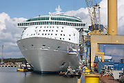 Independence of the Seas at Aker Yards, Turku, Finland,just before her maiden voyage..Royal Caribbean took delivery of the ship today. She is the third Freedom Class vessel to be built by Aker Yards, Turku for Royal Caribbean.