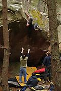 Sam Whittaker climbing Metropolis, 7c, Franchard Hautes-plaines, Fontainebleau