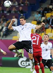10-06-2012 VOETBAL: UEFA EURO 2012 DAY 3: POLEN OEKRAINE<br /> UEFA Euro 2012 Group B Match between Germany and Portugal at the Arena Lviv, Lviv, Ukraine /  MARIO GOMEZ GOL RADOSC scores the 1-0<br /> ***NETHERLANDS ONLY***<br /> ©2012-FotoHoogendoorn.nl