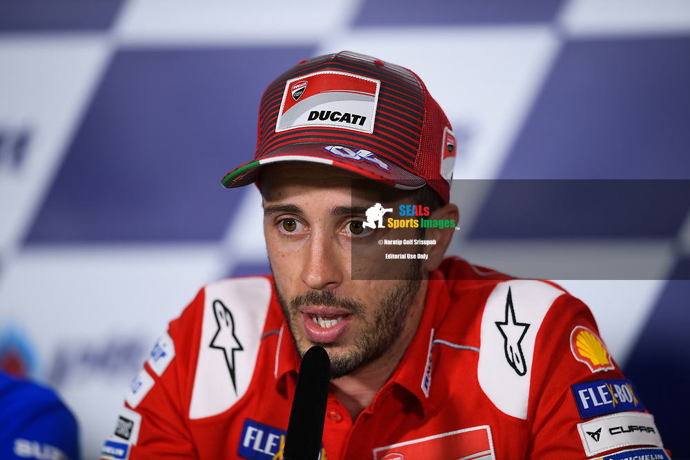 BURIRAM, THAILAND - OCTOBER 04: Andrea Dovizioso (04) of Italy and Ducati Team during the Pre-Event Riders Press Conference at the MotoGP PTT Thailand Grand Prix 2018, Chang International Circuit, Buriram, Thailand on October 04, 2018. <br /> .<br /> .<br /> .<br /> (Photo by: Naratip Golf Srisupab/SEALs Sports Images)<br /> .<br /> Any image use must include a mandatory credit line adjacent to the content which should read: Naratip Golf Srisupab/SEALs Sports Images