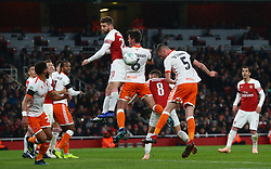 October 31, 2018 - London, England, United Kingdom - London, UK, 31 October, 2018.Blackpool's Paudie O'Connor scores.During Carabao Cup fourth Round between Arsenal and Blackpool at Emirates stadium , London, England on 31 Oct 2018. (Credit Image: © Action Foto Sport/NurPhoto via ZUMA Press)