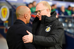 Belgium Manager Roberto Martinez (left) and Scotland Manager Alex McLeish shake hands ahead of the International Friendly at Hampden Park, Glasgow.
