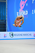 Filiou Varvara during qualifying at clubs in Pesaro World Cup 11 April 2015. Varvara, born on 29 December 1994 in Maurosi,Greece. She is the most famous and awarded Greek athlete of this sport. Varvara is an 8 time Greek National All-around Champion..