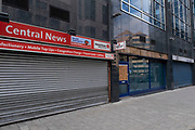 With new local coronavirus lockdown measures now in place and Birmingham currently set at 'Tier 2' or 'high', closed down shops in the city centre on 14th October 2020 in Birmingham, United Kingdom. This is the first day of the new three tier system in the UK which has levels: 'medium', which includes the rule of six, 'high', which will cover most areas under current restrictions; and 'very high' for those areas with particularly high case numbers. Meanwhile there have been calls by politicians for a 'circuit breaker' complete lockdown to be announced to help the growing spread of the Covid-19 virus.