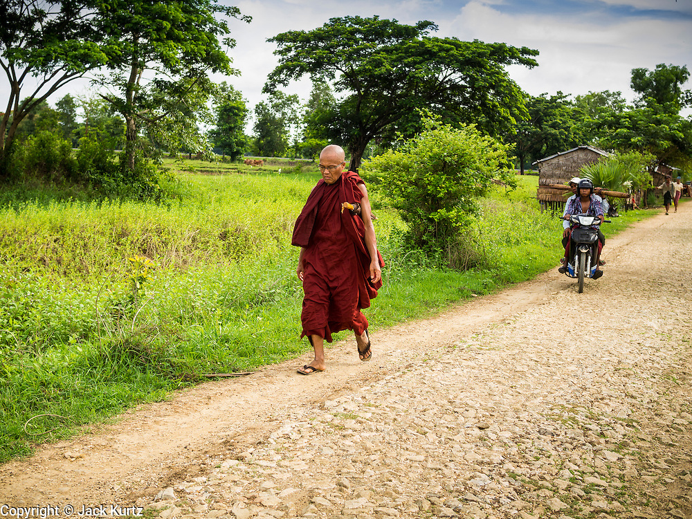 06 JUNE 2014 - IRRAWADDY DELTA,  AYEYARWADY REGION, MYANMAR: A Buddhist monk walks along a back road in the Irrawaddy Delta (or Ayeyarwady Delta) in Myanmar. The region is Myanmar's largest rice producer, so its infrastructure of road transportation has been greatly developed during the 1990s and 2000s. Two thirds of the total arable land is under rice cultivation with a yield of about 2,000-2,500 kg per hectare. FIshing and aquaculture are also important economically. Because of the number of rivers and canals that crisscross the Delta, steamship service is widely available.   PHOTO BY JACK KURTZ