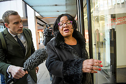 © Licensed to London News Pictures. 06/01/2020. London, UK. Shadow Home Secretary DIANNE ABBOTT MP, arrives for a Labour Party NEC meeting in London where the upcoming leadership election will be organised. Current leader Jeremy Corbyn pledged to step down after the Conservative party won an 80 seat majority at a general election. Photo credit: Ben Cawthra/LNP