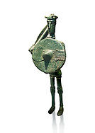 Iron Age Nuragic broze statue of a soldier with a shield and sword from Monte Arcosu di Uta, Sardinia. Museo archeologico nazionale, Cagliari, Italy. (National Archaeological Museum)  - White Background