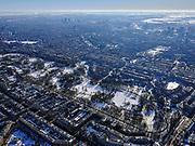 Nederland, Noord-Holland, Amsterdam, 13-02-2021; Vondelpark in de winter met schaatsers op de vijvers.<br /> Vondelpark with ice skaters on the ponds.<br /> <br /> luchtfoto (toeslag op standaard tarieven);<br /> aerial photo (additional fee required)<br /> copyright © 2021 foto/photo Siebe Swart