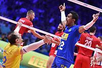 Celebration Life and Maique of Brazil.<br /> Torino 29-09-2018 Pala Alpitour <br /> FIVB Volleyball Men's World Championship <br /> Pallavolo Campionati del Mondo Uomini <br /> Semifinal<br /> Brasile - Serbia / Brazil - Serbia<br /> Foto Antonietta Baldassarre / Insidefoto