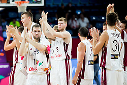 Janis Strelnieks of Latvia and other players of Latvia celebrate after winning during basketball match between National Teams of Latvia and Montenegro at Day 11 in Round of 16 of the FIBA EuroBasket 2017 at Sinan Erdem Dome in Istanbul, Turkey on September 10, 2017. Photo by Vid Ponikvar / Sportida