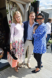 Left to right, ZOE HOBBS, BRENDAN COLE and GAIL RONSON at the 2014 RHS Chelsea Flower Show held at the Royal Hospital Chelsea, London on 19th May 2014.