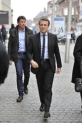 Former French Economy Minister, founder and president of political movement 'En Marche !' and candidate for the 2017 presidential election, Emmanuel Macron arriving for a signing session for his latest book 'Revolution' at Librairie Martelle bookstore, in Amiens, northern France on November 25, 2016. Photo by Edouard Bernaux/ABACAPRESS.COM