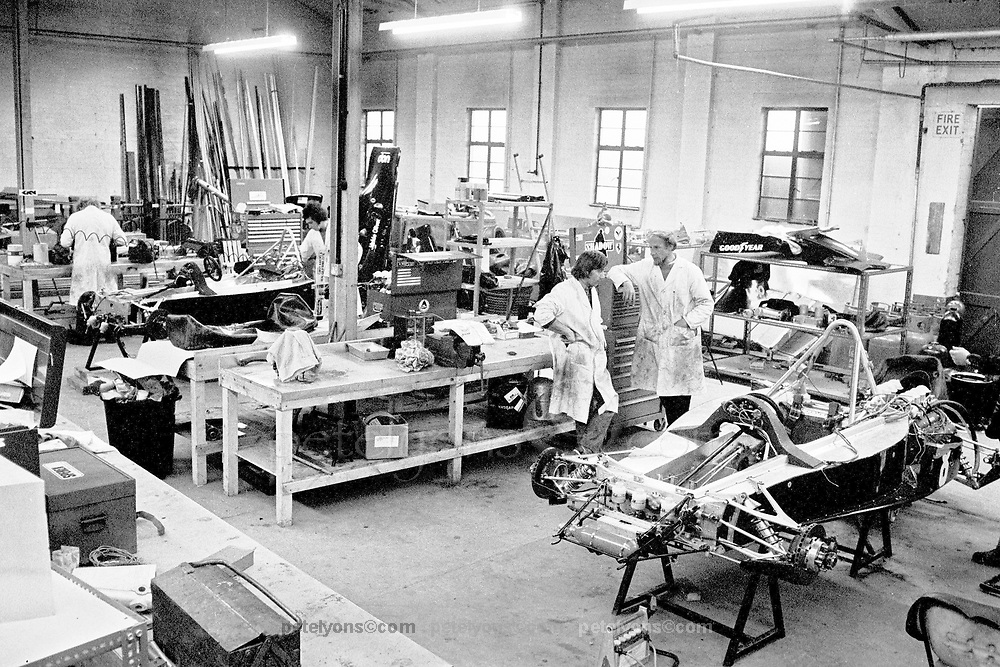 Interior of UOP Shadow F1 factory in England, 1973
