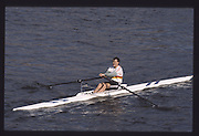 London. United Kingdom. Ian HOPKINS. , 1990 Scullers Head of the River Race. River Thames, viewpoint Chiswick Bridge Saturday 07.04.1990<br /> <br /> [Mandatory Credit; Peter SPURRIER/Intersport Images] 19900407 Scullers Head, London Engl