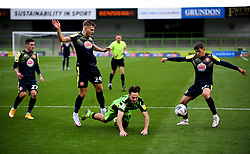 Aaron Collins of Forest Green Rovers is fouled by Ross Marshall of Stevenage- Mandatory by-line: Nizaam Jones/JMP - 17/10/2020 - FOOTBALL - innocent New Lawn Stadium - Nailsworth, England - Forest Green Rovers v Stevenage - Sky Bet League Two