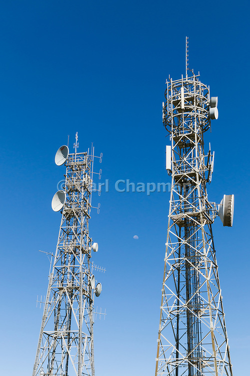 Antennas for radio and microwave  systems on two lattice tower in Queensland, Australia. <br /> <br /> Editions:- Open Edition Print / Stock Image