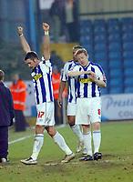 Photo: Kevin Poolman.<br />Colchester United v Bradford City. Coca Cola League 1. 04/02/2006.<br />John White (L) and Gareth Williams celebrate Colchester's win at the end.
