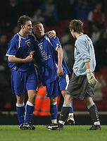 Photo: Marc Atkins.<br /> Arsenal v Cardiff City. FA Youth Cup. 19/02/2007. Matt Smith (C)of Cardiff City cries in despair at the though of what might have been if he had scored from the Penalty spot.