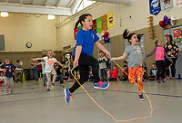 Justice Thomas and her fellow 2nd graders show off their jump roping skills during Elm Street School's Jump Rope for Heart event to benefit the American Heart Association Friday afternoon.  (Karen Bobotas/for the Laconia Daily Sun)