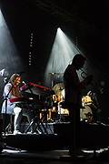 """Brooklyn, NY – 7 June 2017. Brooklyn-based Lake Street Dive opened the 2017 season of the BRIC Celebrate Brooklyn! Festival at the Prospect Park Bandshell to a packed venue. On stage are Mike """"McDuck"""" Olson on trumpet and guest keyboardist Akie Bermiss."""
