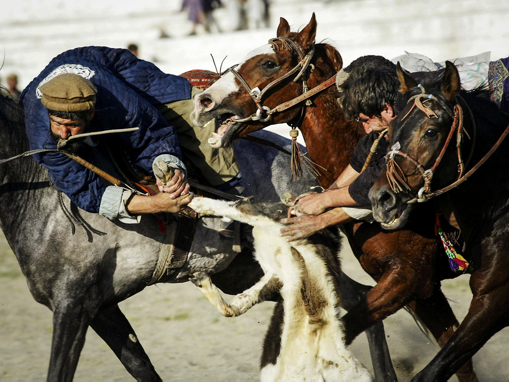 Banned during Taliban regime. The national sport of Buzkashi is back and horsemen are competing throughout Afghanistan.<br /> <br /> The Afghan traditional sport of Buzkashi played in Kabul in Ghazni Stadium. Exclusively Afghan, Buzkashi as it is played today. The tradition goes back as far as time of Alexander the Genghis Khan. Mongol horsemen were adapt at advancing swiftly on enemy camp sites and without dismounting, swooping up sheep, goats and other pillage at full gallop.  In retaliation, the inhabitants of northern Afghanistan established a mounted defense against these raids and this practice is the direct forebearer of today's Buzkashi. Buzkashi demands the highest degree of horsemenship, courage and physical strenghth from the participants.<br /> The chapandaz (rider) is only half of the game. For centuries, northern Afghanistan breeds horses of exceptional endurance and speed crucial ingredients for Buzkashi.