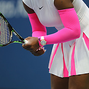 2016 U.S. Open - Day 8  Serena Williams of the United States in action against Yaroslava Shvedova of Kazakhstan in the Women's Singles round four match on Arthur Ashe Stadium on day eight of the 2016 US Open Tennis Tournament at the USTA Billie Jean King National Tennis Center on September 5, 2016 in Flushing, Queens, New York City.  (Photo by Tim Clayton/Corbis via Getty Images)