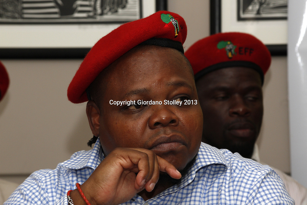 DURBAN - 14 August 2013 - Sipho Mbatha, a member of the National Command Team of the newly formed Economic Freedom Fighters political party at the party's first press briefing in KwaZulu-Natal. EFF was founded by expelled ANC Youth League president Julius Malema. Its key policies include expropriation of land without compensation and the nationalisation of mines and banks among others. Picture: Giordano Stolley