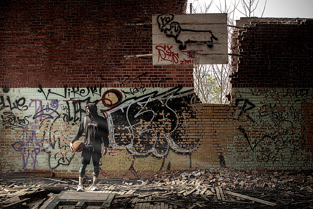Old gymnasium at the abandoned McArthur Elementary School. photo: Randal Crow