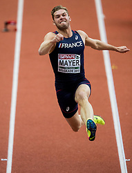 Kevin Mayer of France competes in the Heptathlon Long Jump Men on day two of the 2017 European Athletics Indoor Championships at the Kombank Arena on March 4, 2017 in Belgrade, Serbia. Photo by Vid Ponikvar / Sportida