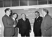 Mr William Norton (centre) Minister for Industry and Commerce at Irish Ropes Ltd..05/07/1954