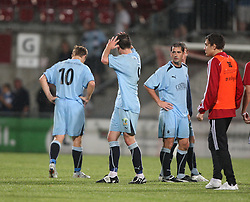 Carl Finnigan (9) at the end after getting the red card.<br /> Vaduz 2 v 0 Falkirk FC at the Rheinpark Stadium for their Europa League second-round qualifier against Vaduz in Liechtenstein.<br /> ©2009 Michael Schofield. All Rights Reserved.